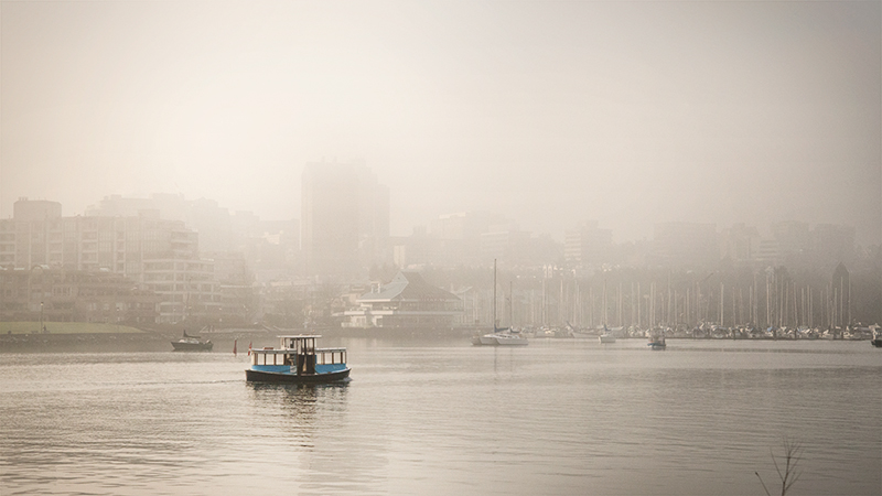 Ferry amidst the False Creek mist.